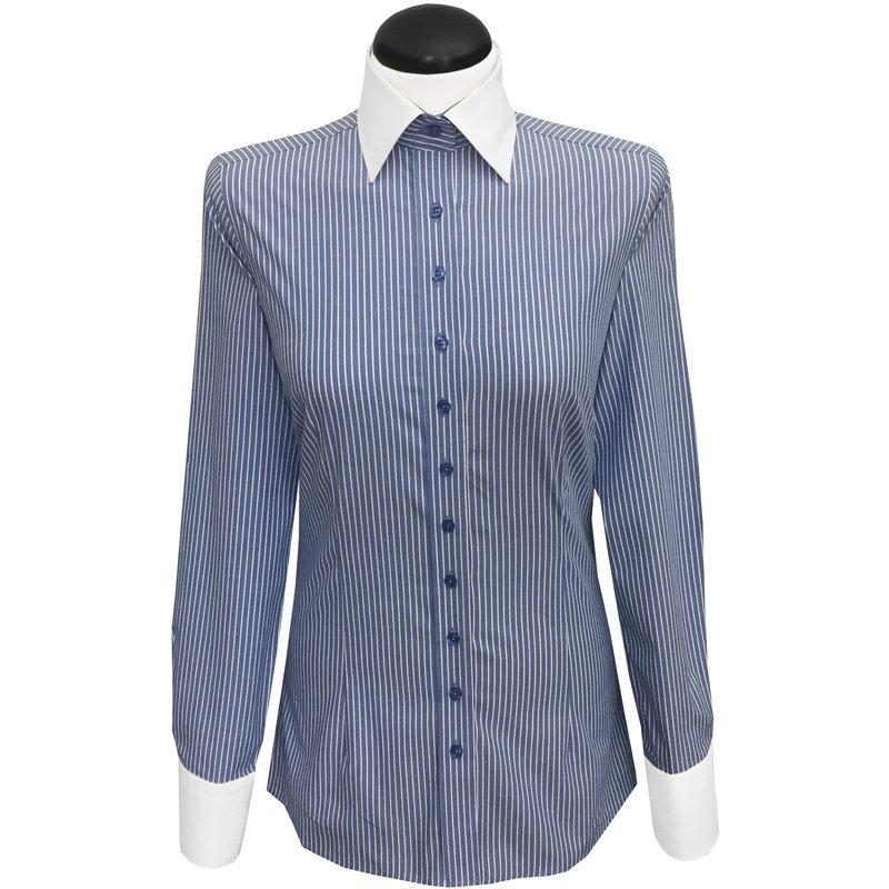 kontrastbluse gestreift mit weissem kragen farbe blau. Black Bedroom Furniture Sets. Home Design Ideas