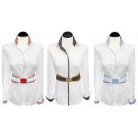 Contrast blouses white 2-colored