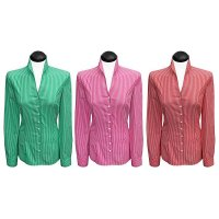 Striped/squared stand up collar blouses (expiring collection)