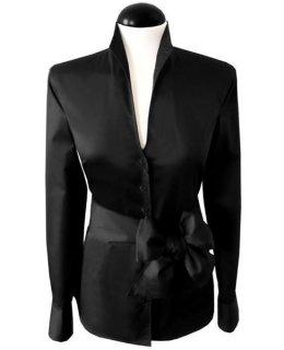 Stand up collar blouse, plain black