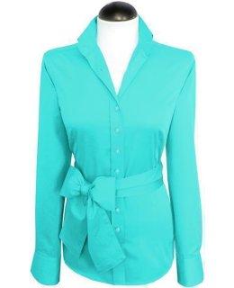 Classic blouse, plain turquoise (extra long)