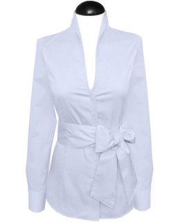 Stand up collar blouse, plain light blue