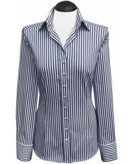 e689c01515 Satin blouse, colour: navy/white striped (expiring collection)