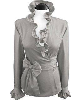 ruffled wrapped blouse, smokey