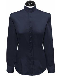 Judge collar blouse, plain navy