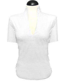 Stehkragen -Shirt, weiss, kurzarm,  mit extralangem Rumpf